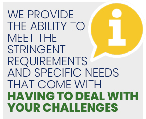 We provide  the ability to  meet the  stringent requirements  and specific needs that come with having to deal with your challenges